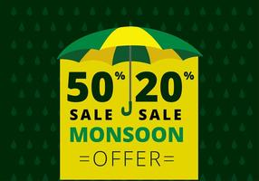 Monsoon Aanbieding Template Gratis Vector