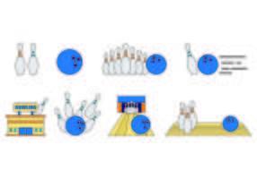 Set Van Bowling Icons vector