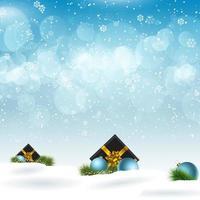 kerstcadeaus genesteld in de sneeuw