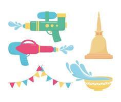 songkran festival viering pictogramserie vector
