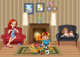 scène met familie ontspannen in de woonkamer vector
