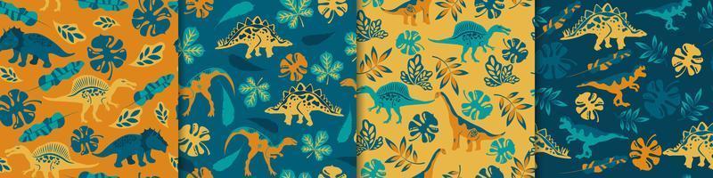 dinosaurussen naadloze patronen vector