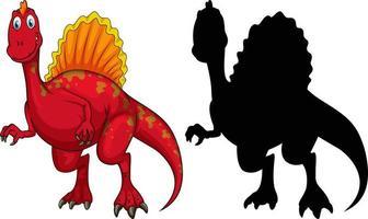 set van dinosaurus stripfiguur en zijn silhouet vector