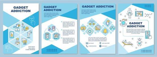 gadgetverslaving brochure, blauwe sjabloon vector