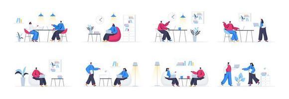 bundel van coworking office-scènes
