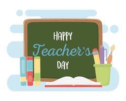 schoolmaterialen banner voor lerarendag vector