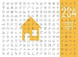 huis lineaire pictogrammen grote reeks vector