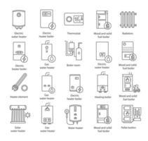 verwarming, lineaire iconen set