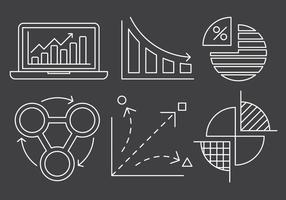 Gratis Lineaire Grafiek en statistieken Icons vector