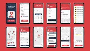 auto boeken unieke design kit voor mobiele app vector