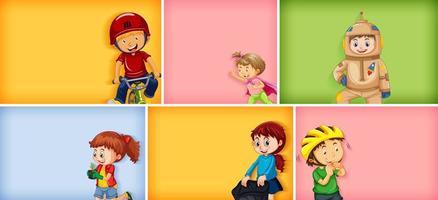set van verschillende kid-tekens op verschillende kleuren vector