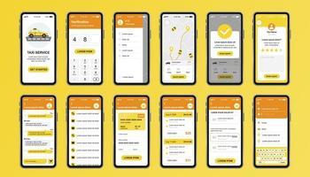 taxiservice unieke ontwerpkit voor mobiele app vector