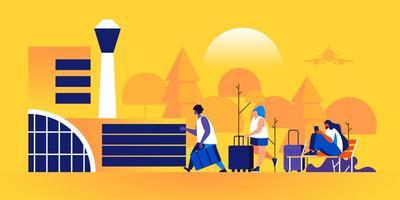 mensen met koffers die richting luchthaven lopen vector