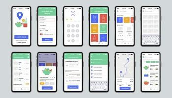 bezorgen eten unieke ontwerpset voor mobiele app vector