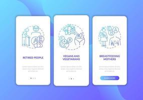 wie vitamines moet nemen, scherm van mobiele app vector