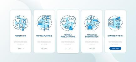 vroege tekenen van dementie, schermen van mobiele app-pagina's vector