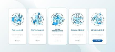 hersenslag, mobiele app-pagina schermconcepten vector