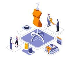 modevormgeving isometrisch ontwerp vector