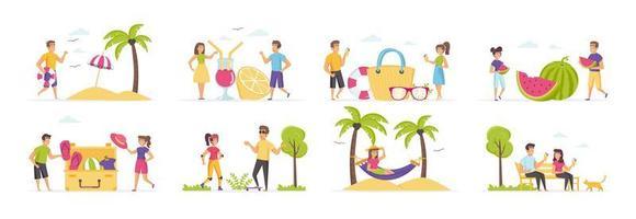 zomervakantie met mensen in verschillende situaties