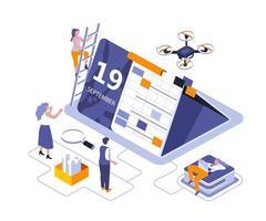 kalender tabel isometrische ontwerp