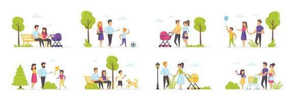 familievakantiepark met mensen in verschillende scènes vector