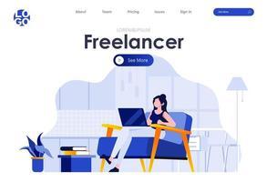 freelancer platte bestemmingspagina-ontwerp