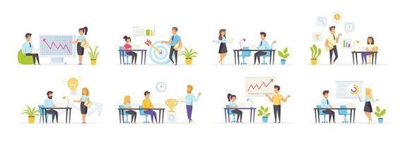 coaching en mentoring met mensen in verschillende scènes vector