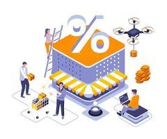 kortingen van goederen isometrisch ontwerp vector