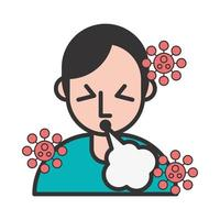 persoon met hoest en covid19-symptomen