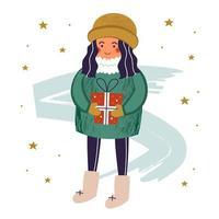 meisje karakter in warme kleren met cadeau