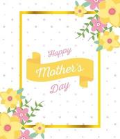 moederdag belettering en bloemen wenskaart