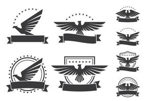 Eagle Emblemen Schild Icons vector