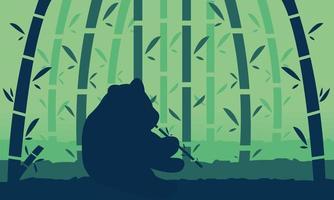 bamboebos en pandalandschap vector