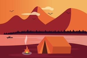 camping met kampvuurmeer en berglandschap vector