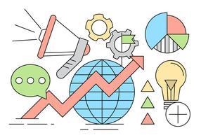 Digital Marketing Iconen in minimalistische stijl