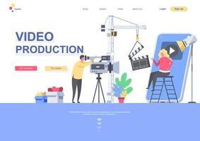 videoproductie platte bestemmingspagina sjabloon vector
