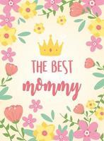 moederdag belettering en bloemen wenskaart vector