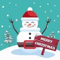 vrolijk kerstfeest poster met sneeuwpop in winters tafereel vector