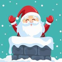 kerstman in schoorsteen op kerstnacht vector