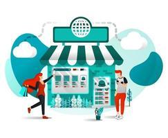 vector illustratie concept voor websites, apps, ui, print, poster. offline winkel is online. winkel toetreden tot marktplaats of e-commerce digitale marketing, mensen winkelen slechts een klik met een plat stripfiguur