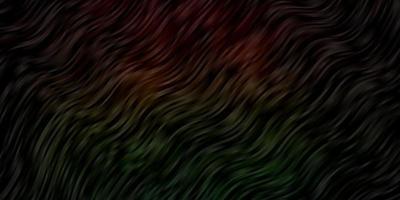 donkergroene en rode achtergrond met gebogen lijnen.