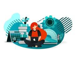meisje student zitten en leren met behulp van laptop vector