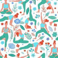 vrouwen die yoga plat patroon uitoefenen vector