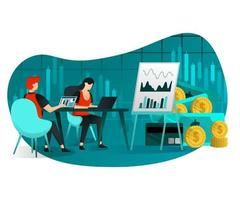 verkoop en winstgroei bijeenkomst vector
