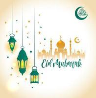 ramadan kareem islamitisch met 3d schattige lantaarn vector