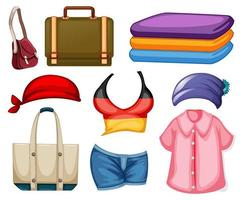 set mode-outfits en accessoires op witte achtergrond