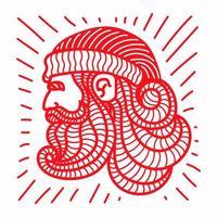 rood van het hoofd van de kerstman
