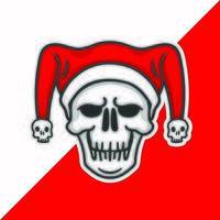 schedel met kerstman hoed.