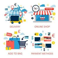 online winkelen en e-commerce set vector