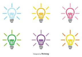 Vector Reeks Kleurrijke Bulb Icon